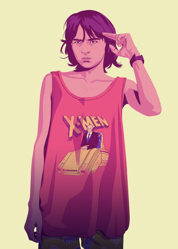 Bran Stark of Game of Thrones in X-men Tshirt