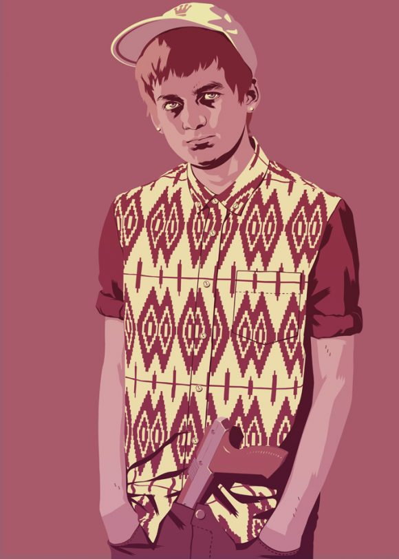 Game of Thrones Joffrey in hipster shirt with gun