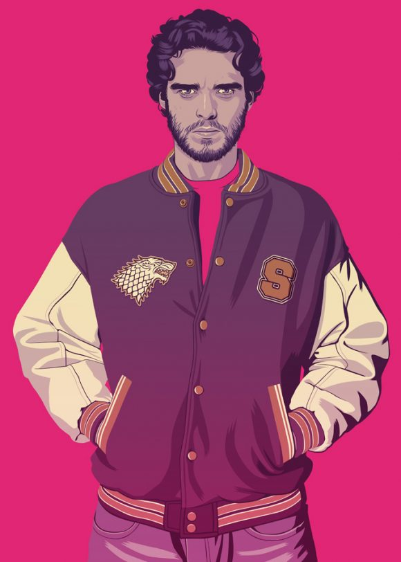 Robb Stark from Game of Thrones in baseball jacket