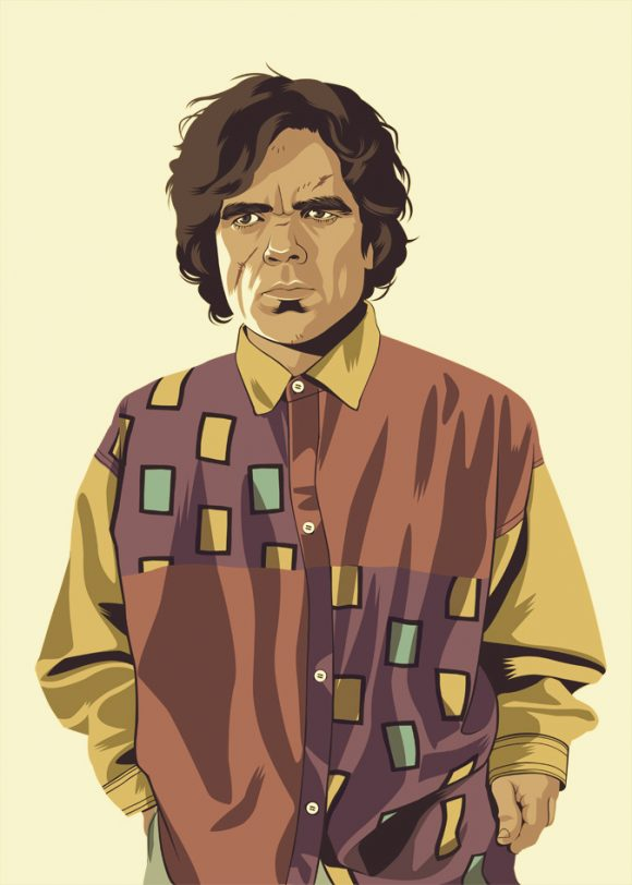 Tyrion Lannister from Game of Thrones dressed in 90s hipster shirt